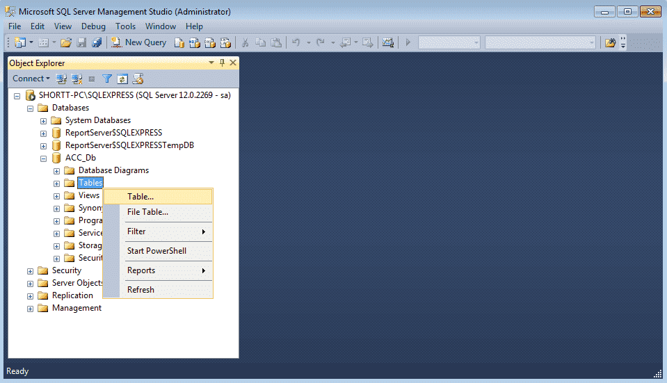 Creating a Database in SQL Server Express 2014
