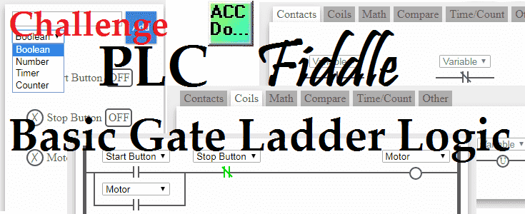 PLC Fiddle Basic Gate Ladder Logic - AND, OR, NAND, NOR, EXOR and EXNOR