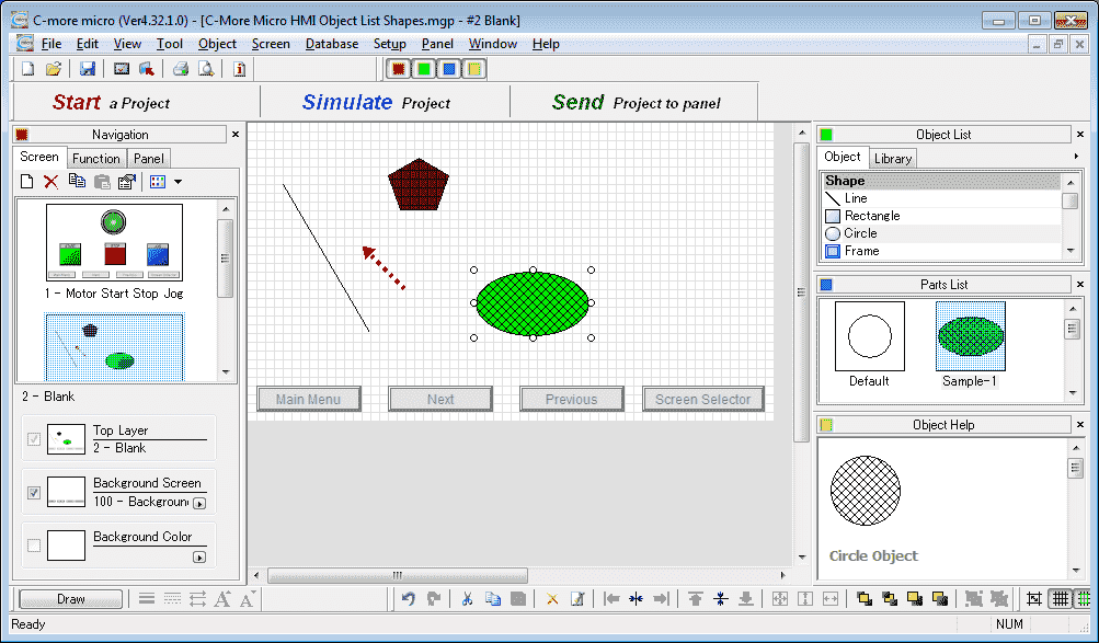 C-More Micro HMI Object List Shapes