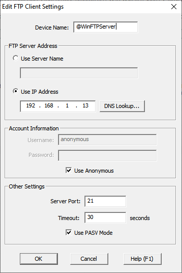BRX Do-More PLC FTP Client Get Put Windows 10 FTP Server
