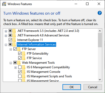 Windows 10 FTP Server