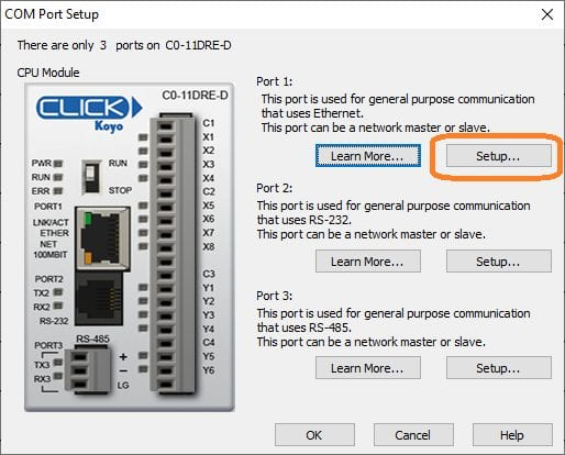 Productivity 1000 Series PLC Click Ethernet Settings